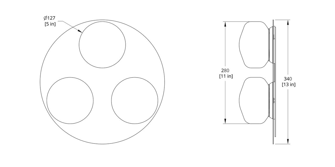 PAS-3C Pastille Cluster Sconce Dimension