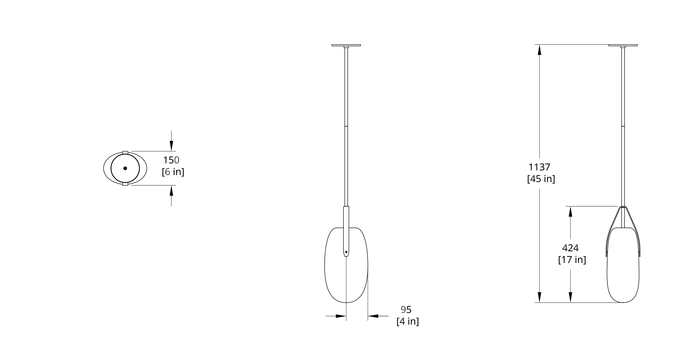 GP-20G Gala Pendant Long Globe Dimension