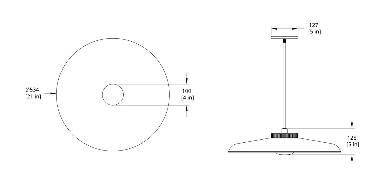 HP-21-A Hoist Pendant Small Diffuser Dimension