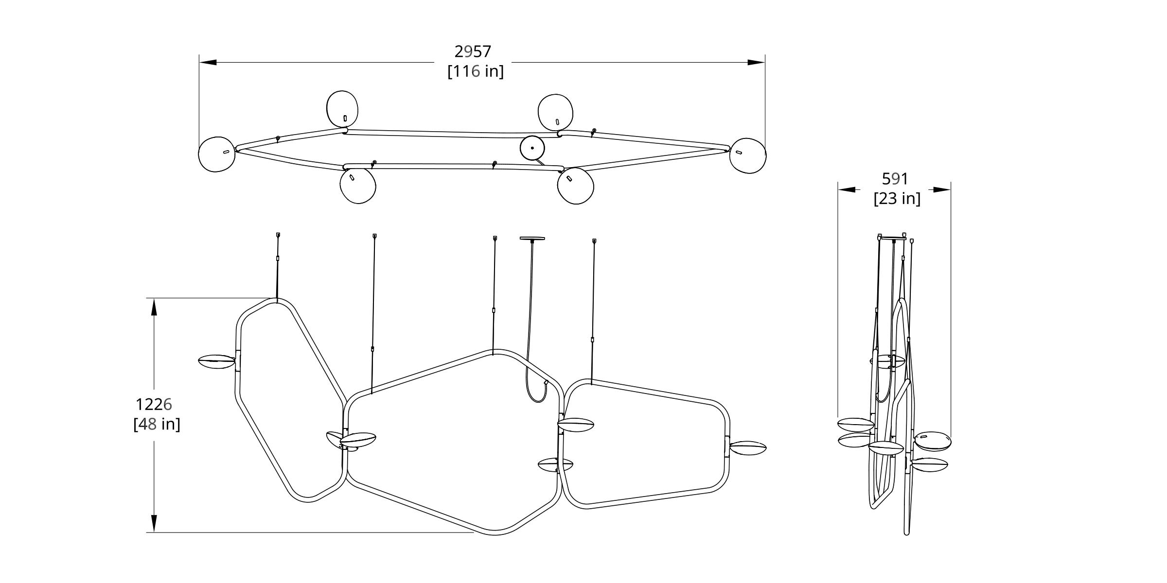 PD-6 Palindrome Chandelier (Line) Dimension