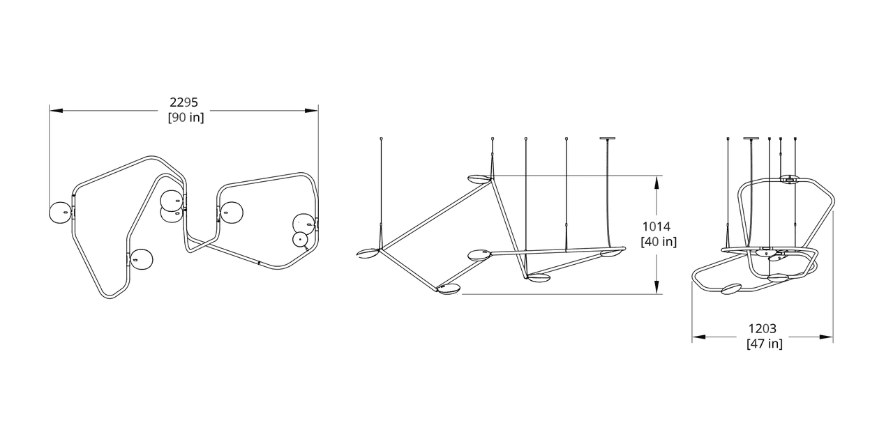 PD-6 Palindrome Chandelier (Flat) Dimension