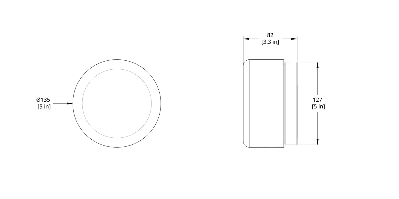 DP-WS Dimple Sconce Dimension (Rotate 90 degrees for flush mount version)