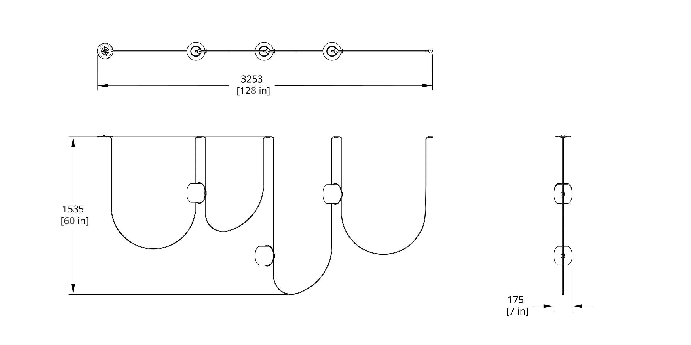VS-3 Vitis Chandelier (Linear) Dimension