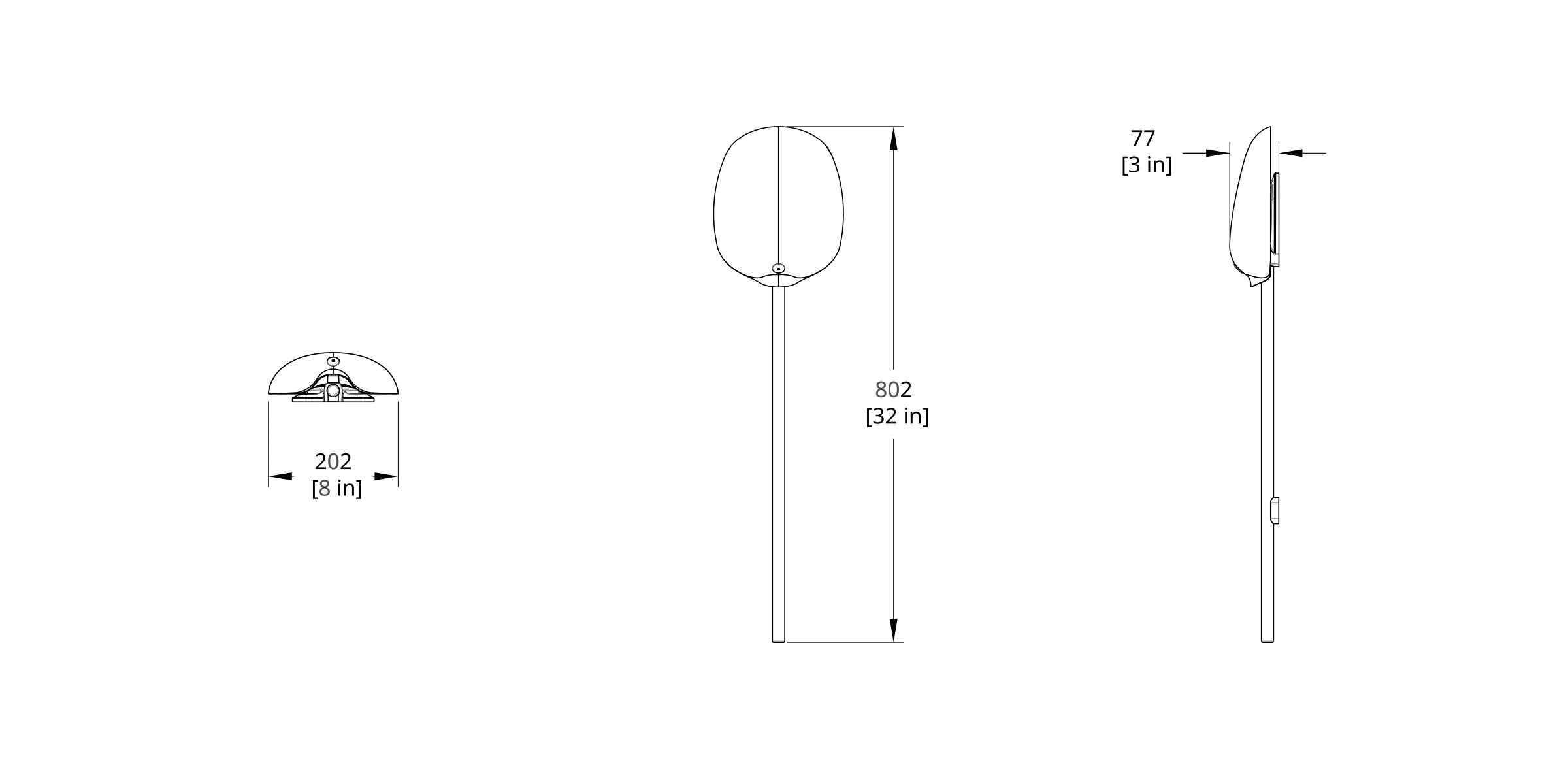 PTS-1M Pilot Sconce Dimension