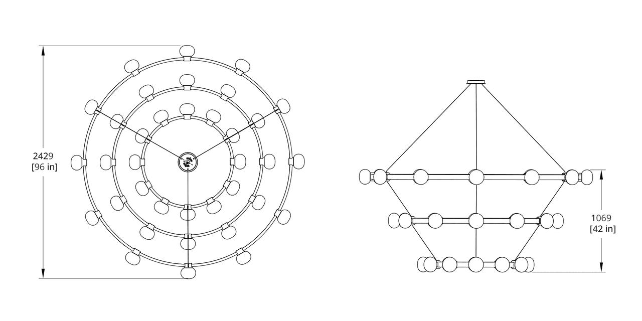 C864-121212 Cinema Chandelier Dimension