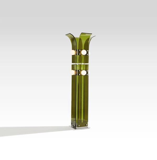 BLUE GREEN WORKS - PALM FLOOR LAMP - POLISHED STEEL - LILY PAD GREEN GLASS