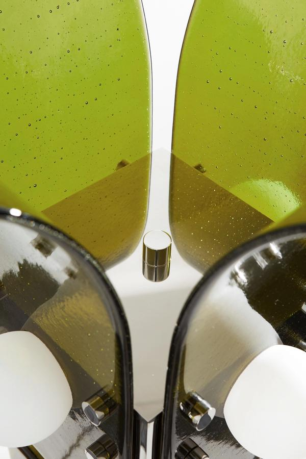 BLUE GREEN WORKS - PALM FLOOR LAMP - POLISHED STEEL - LILY PAD GREEN GLASS - DETAIL 1