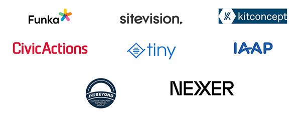 Logos: Funka, Sitevision, Kitkoncept, Civic Actions, Tiny, Joomla, Nexer