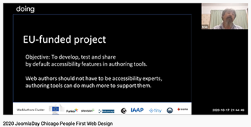 Webinar during JoomlaDay. Screenshot
