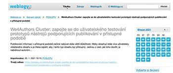 Czech website about We4author project. Screenshot