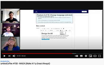 Screenshot of the video - coffee with Sigma and Umbraco - MAGA (Make A11y Great Always!)