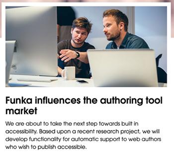 Screenshot from Funka websbite