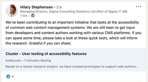 Hilary Stephenson tweets: We've been contributing to an important initiative that looks at the accessibility of common web content management systems. We are still keen to get input from developers and content authors working with various CMS platforms. If you can spare some time, please take a look at these quick tests, which will inform the research. Grateful if you can share: Cluster – User testing of accessibility features.