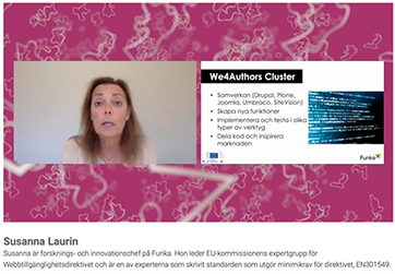 Susanna Laurin at SiteVision Days webinar about WE4Authors. Screenshot