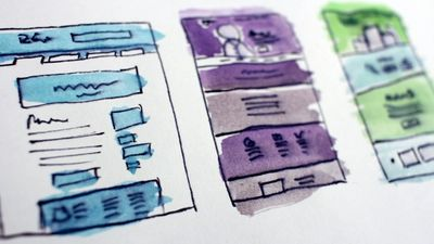 Water color mockups of web pages