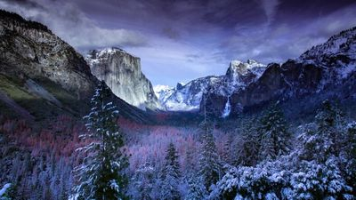Snow covered, mountainous winter landscape