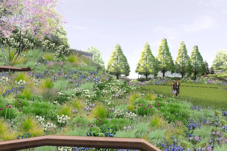 Rendering of park landscaping with flowers and trees.