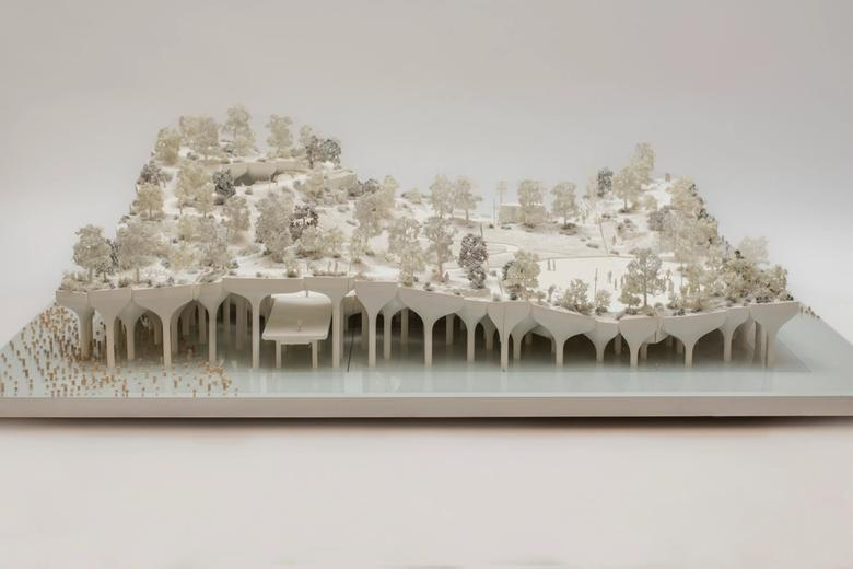 Architectural model of Little Island, view from the side.
