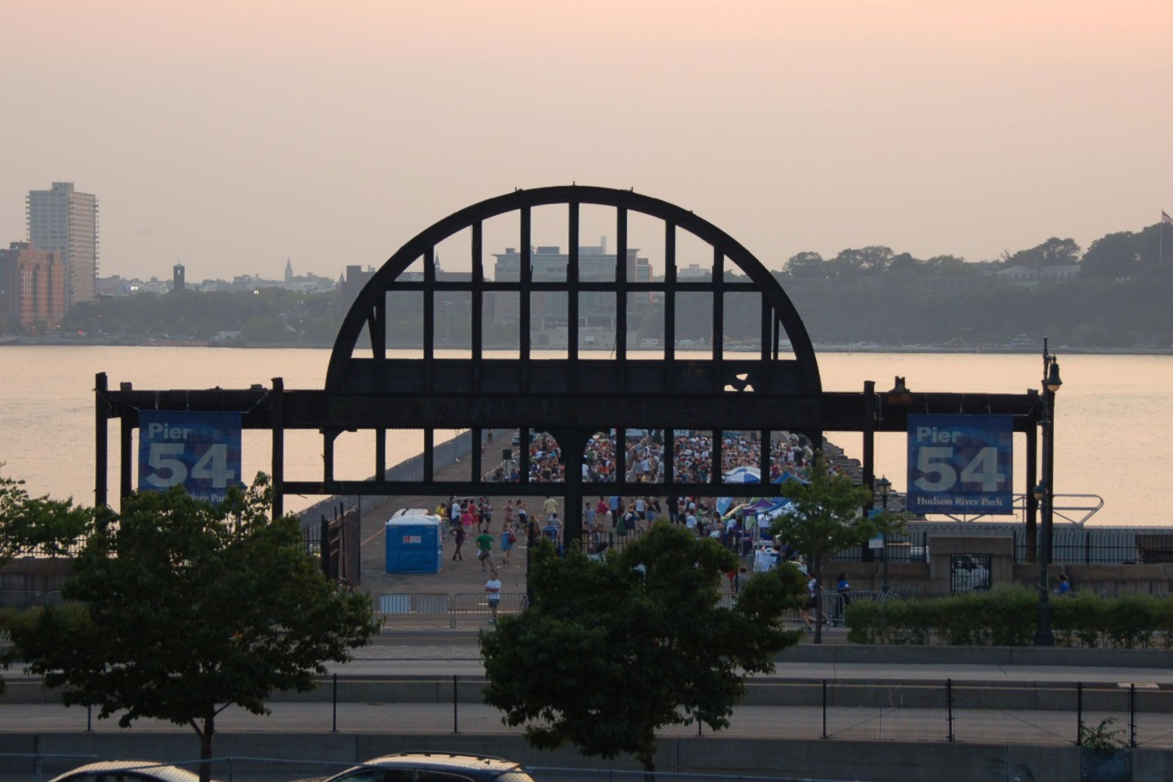 Frontal view of the Cunard Arch and Pier 54