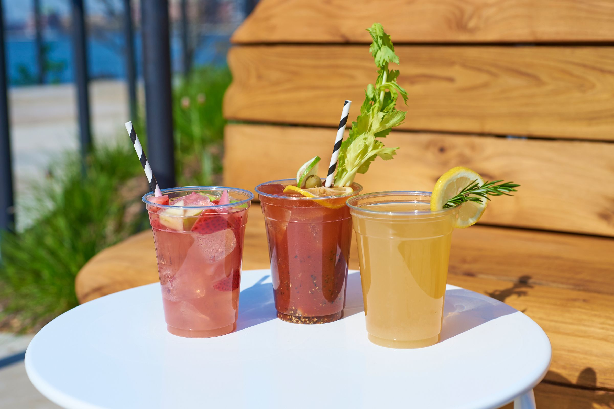 Assorted beverages from the menu at Little Island