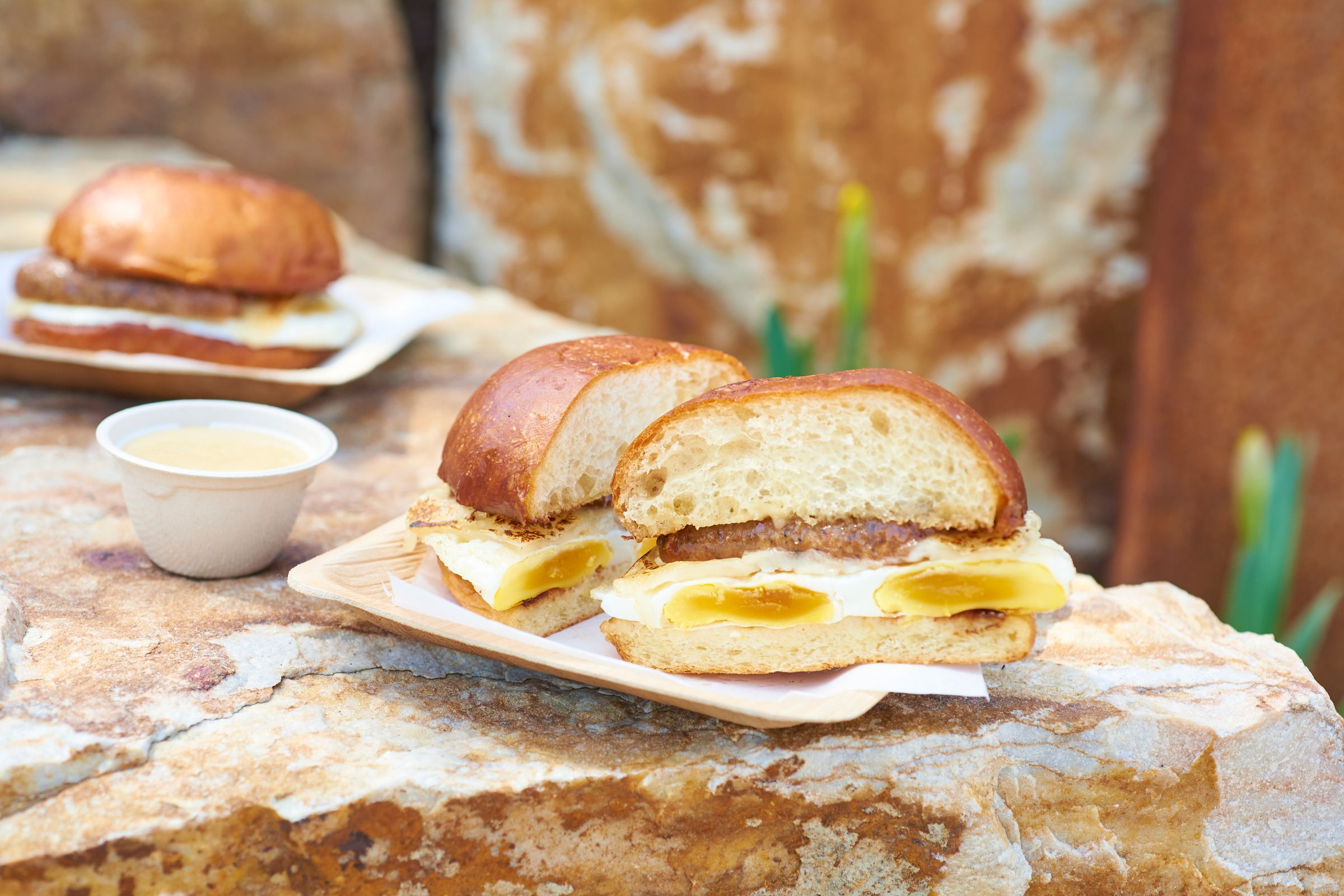 A sandwich with meat and eggs sits on a plate that's sitting on a rock
