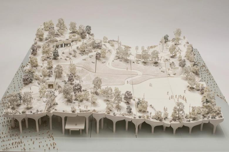 Architectural model of Little Island, view from the top.