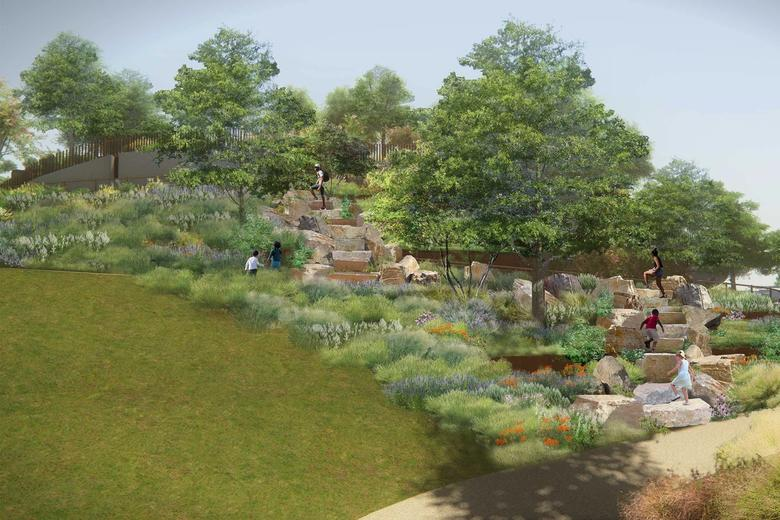Rendering of park landscape featuring boulders, with people walking on them.