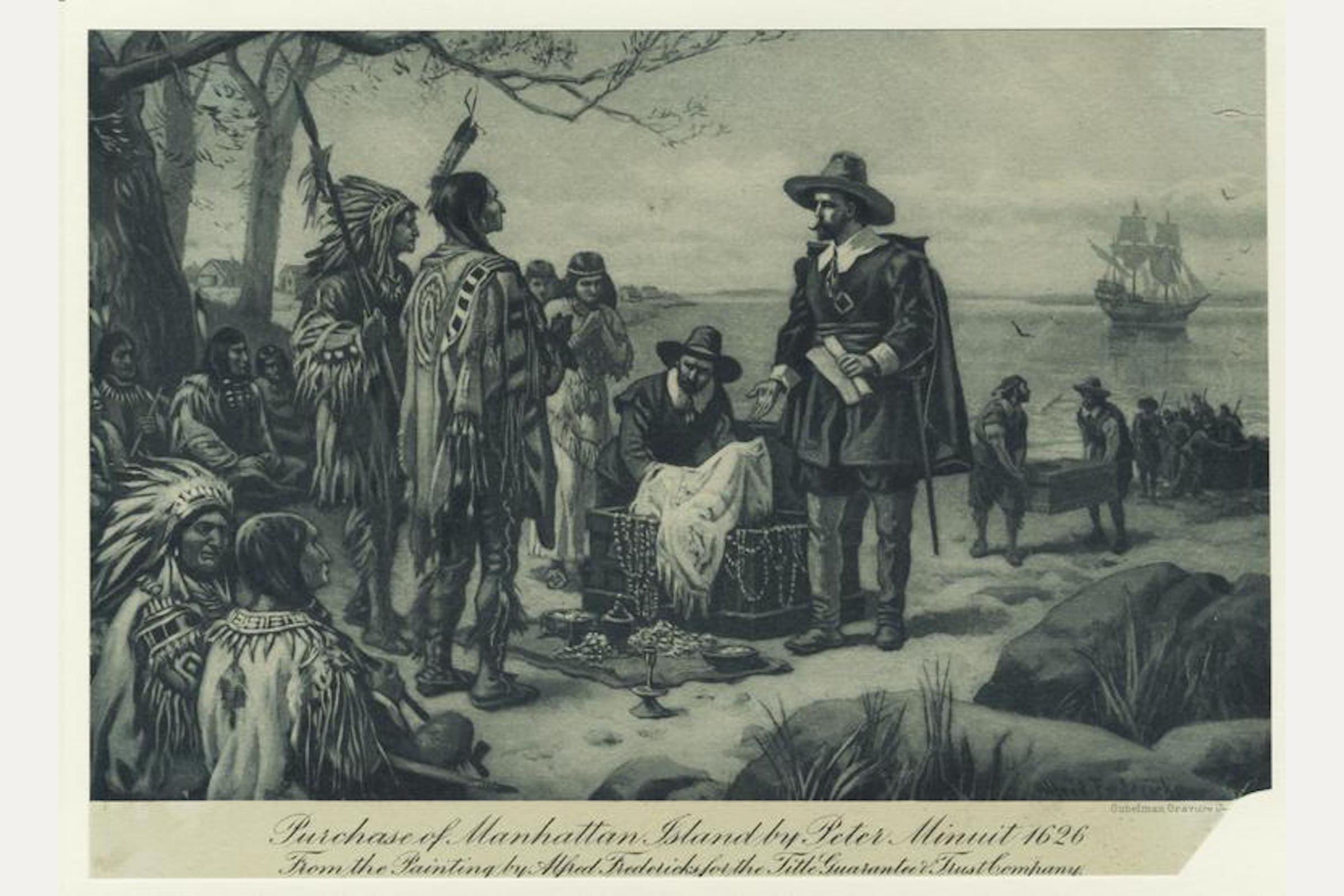 Drawing of Peter Minuit purchasing the island of Manhattan from the Lenape tribe