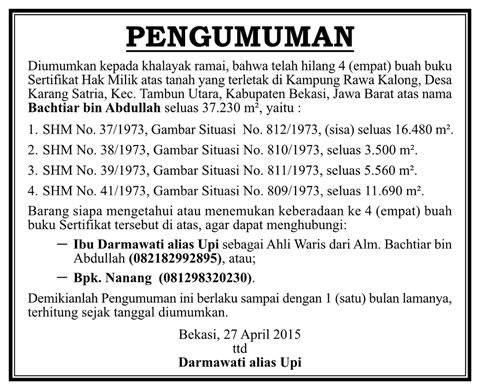 Iklan pengumuman BPN
