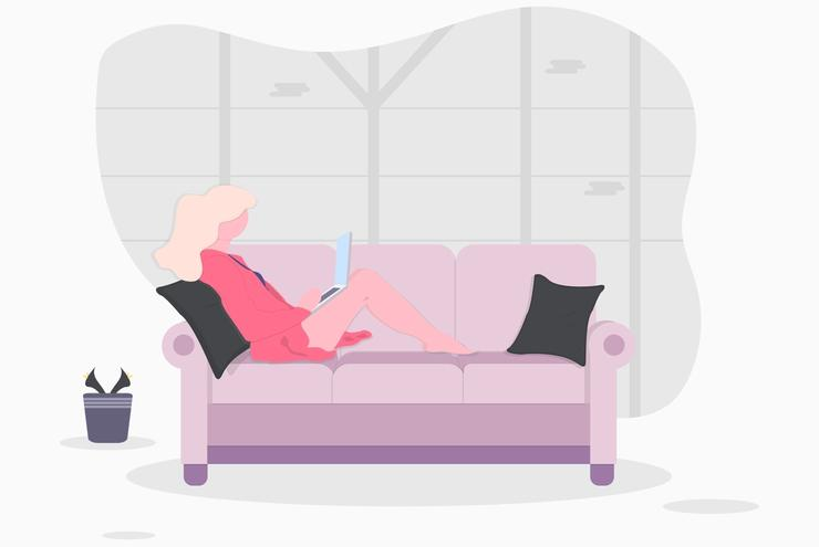 ソファーで仕事をする人のイラスト