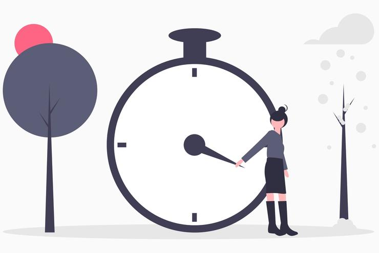 Illustration of a woman is standing in front of clock