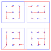 Merge By Part option unchecked: The Squares profiled after all the Circles have been pocketed.