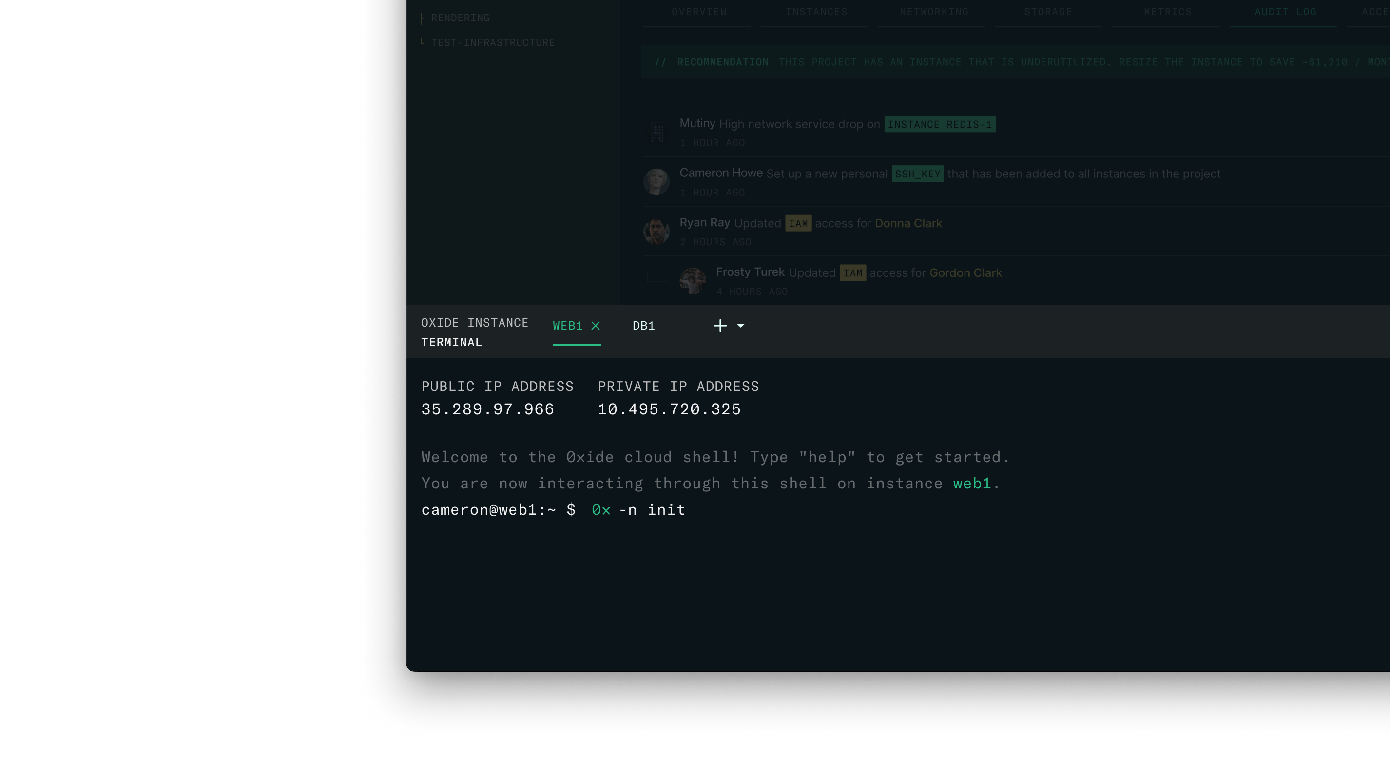 Screenshot of a terminal inside the product