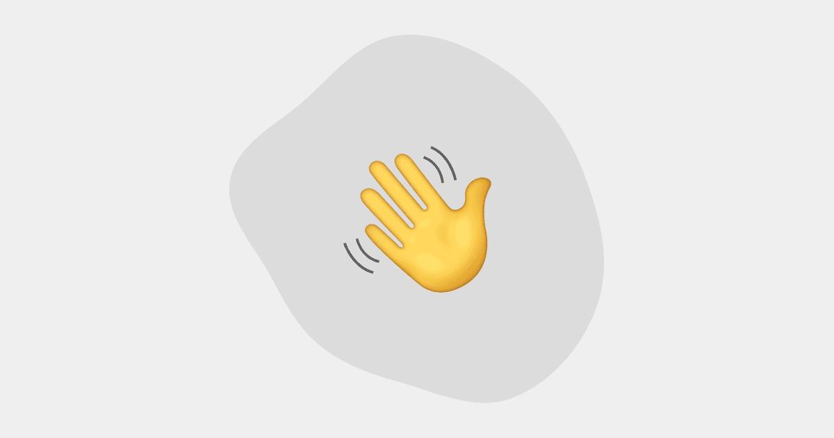 hand emoji waving hello