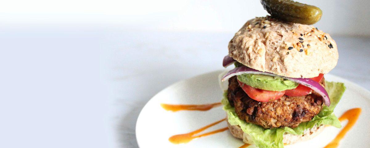 A delicious crunchy vegan burger.