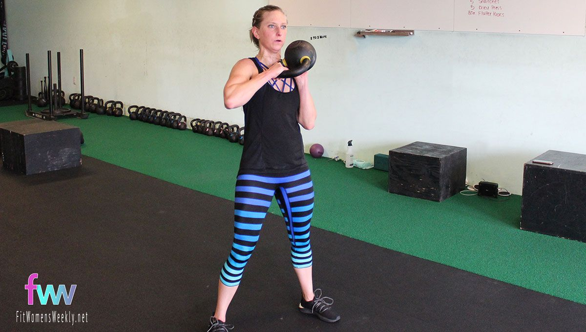 The top of the sling shot. The kettlebell is at your shoulder.