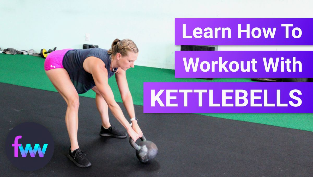 Kindal in the start stop position with a kettlebell