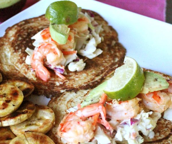 Shrimp tacos with crunch coleslaw and homemade tortillas.