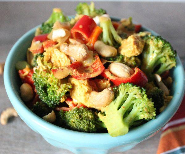 A bowl of vegan broccoli curry salad.