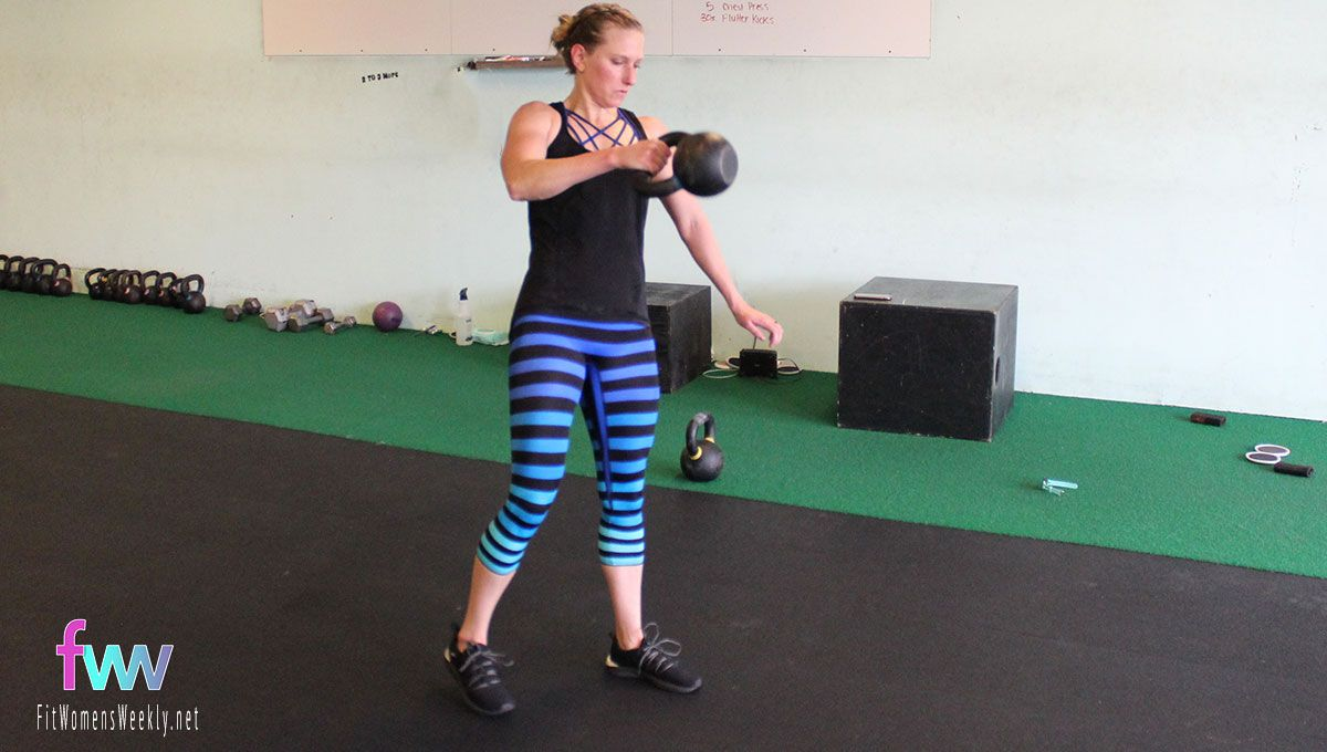 Now you're in the same position as a normal snatch with elbow close to body and kettlebell floating up.