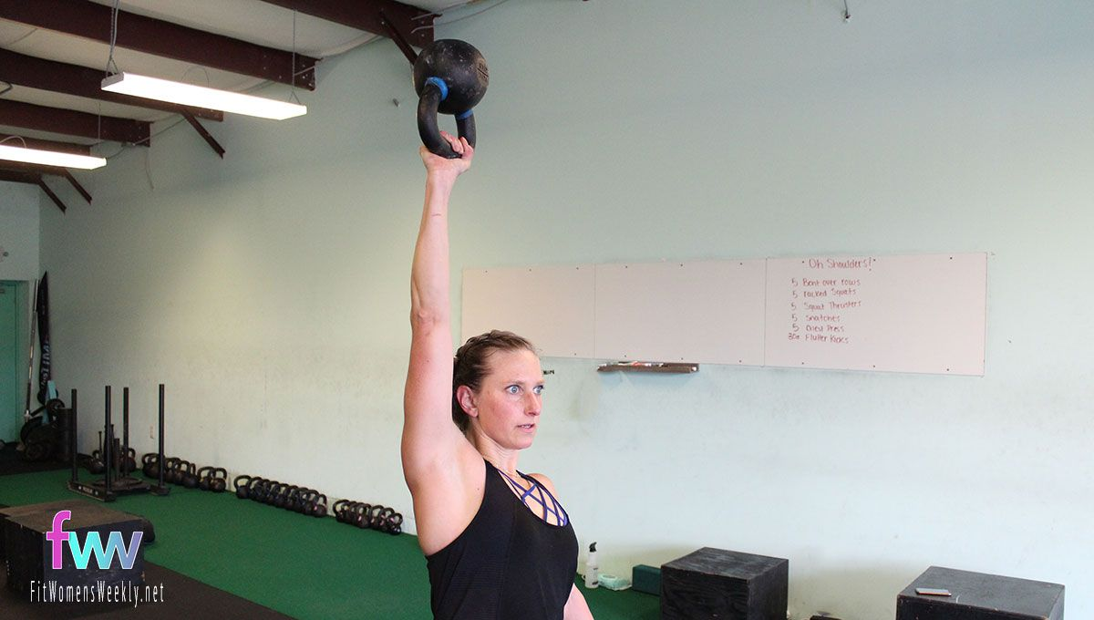 With control press the kettlebell straight overhead. Extend at the top and fully push through your shoulder.