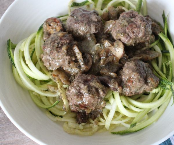 Dill meatballs served alone or over zoodle salad.