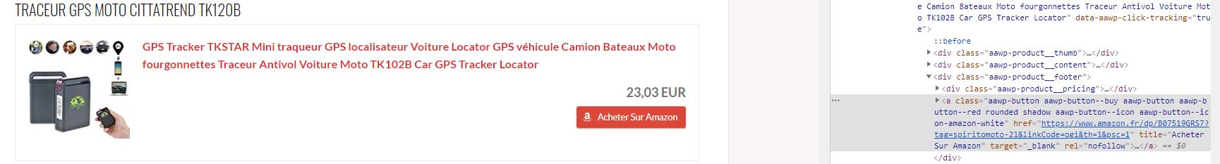 Un lien affilié Amazon depuis un site comparatif de traceurs gps moto