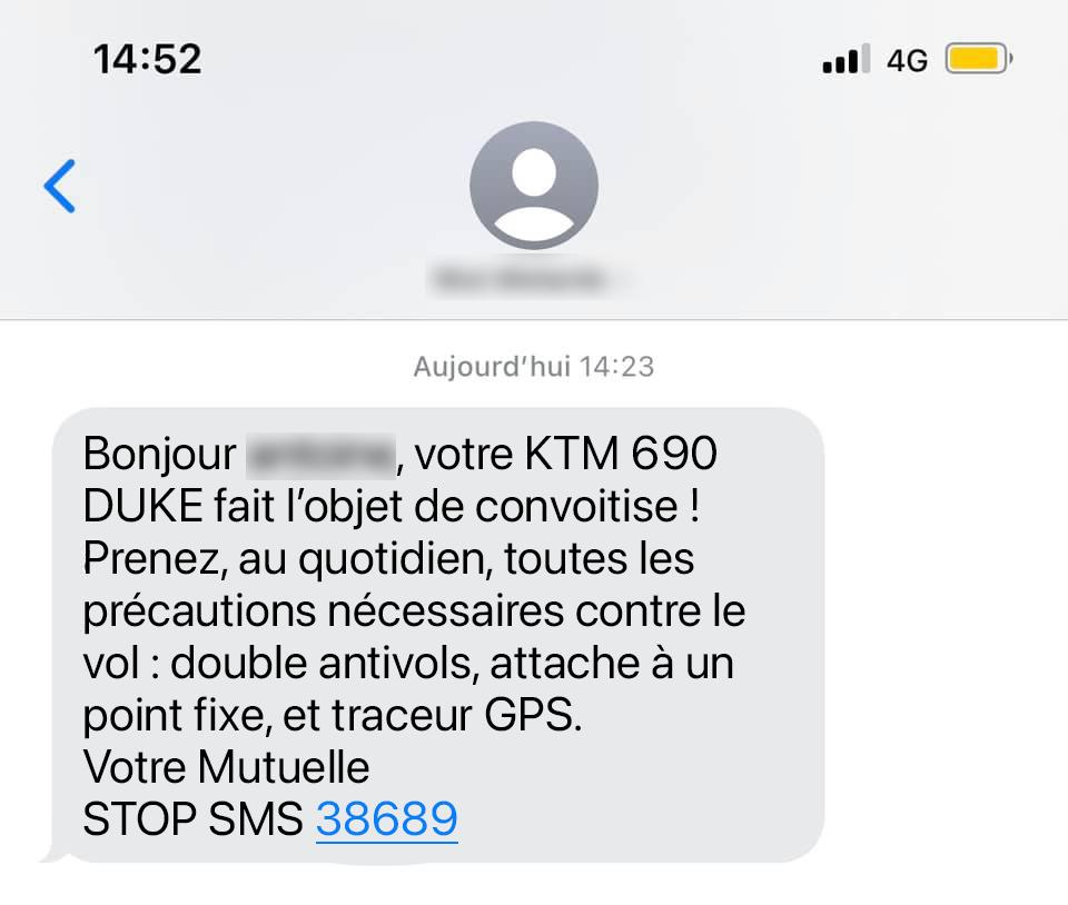 SMS d'alerte