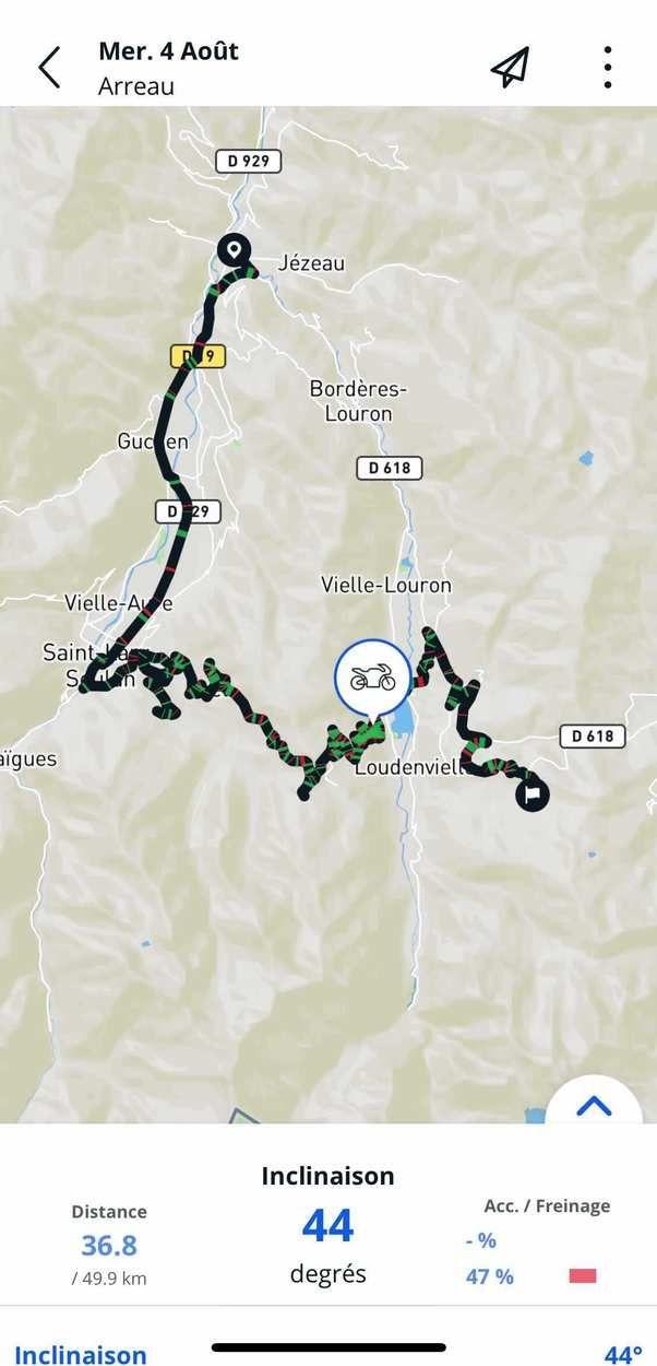 La trace du roatrip moto de Philippe Tachon en Occitanie cet été 2021