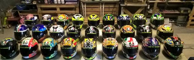 collezione caschi di Valentino Rossi
