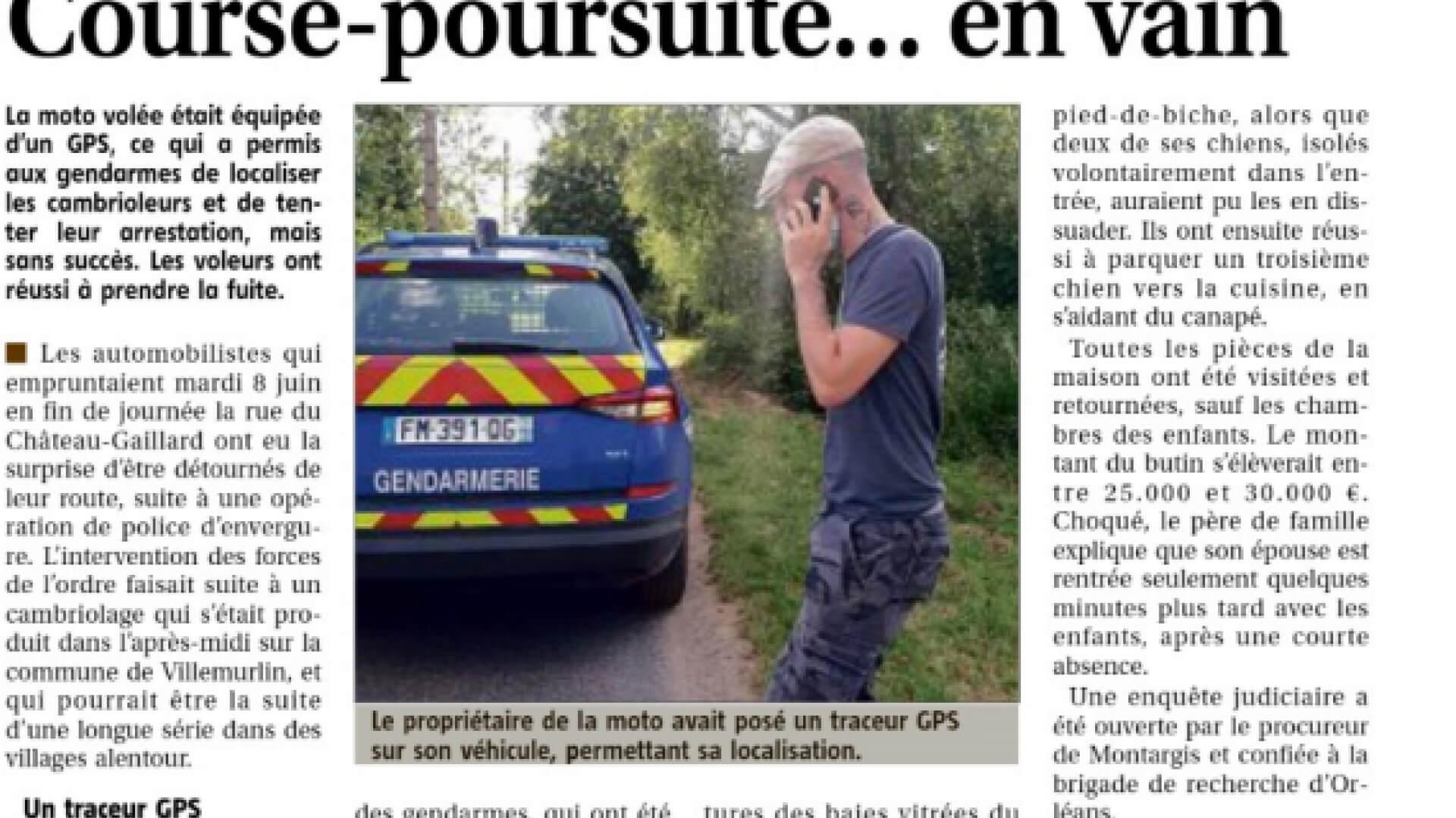 Course-poursuite entre gendarmerie et voleurs de moto cambrioleurs