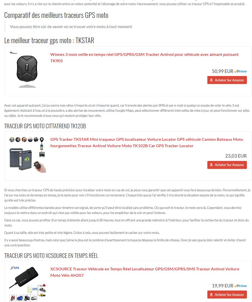 Un exemple de site comparatif de traceurs gps moto