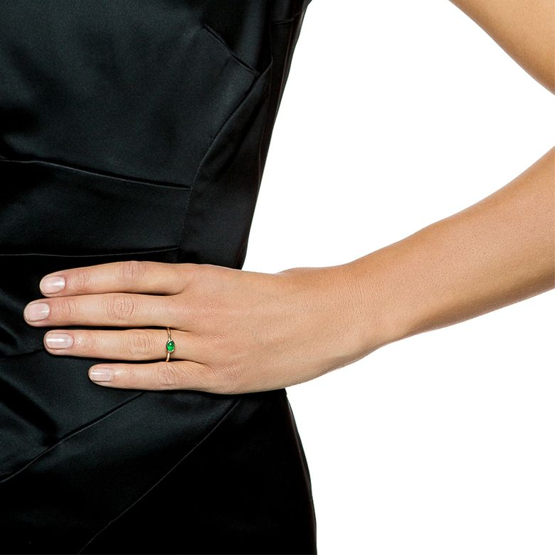 LOVE BEAD RING - GREEN AGATE