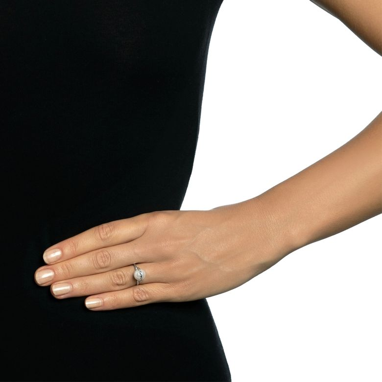 TWISTED ORBIT RING - PEARL.